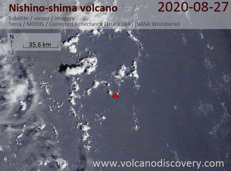 Satellitenbild des Nishino-shima Vulkans am 27 Aug 2020