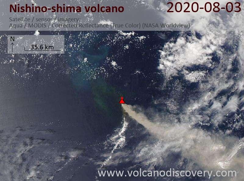 Satellite image of Nishino-shima volcano on  3 Aug 2020