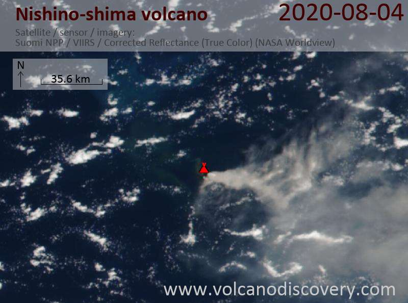 Satellite image of Nishino-shima volcano on  5 Aug 2020