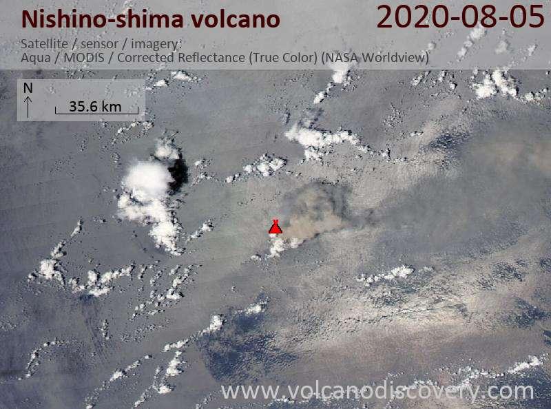 Satellitenbild des Nishino-shima Vulkans am  6 Aug 2020