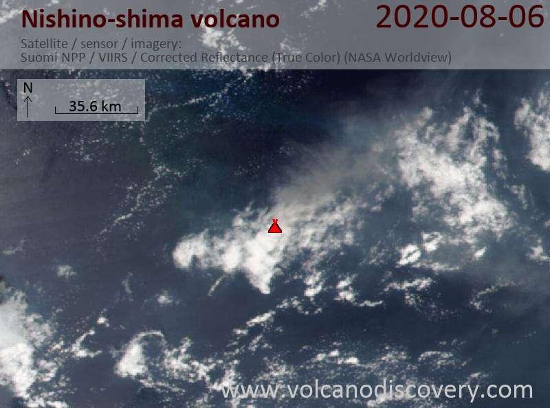 Satellite image of Nishino-shima volcano on  7 Aug 2020