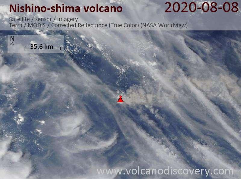 Спутниковое изображение вулкана Nishino-shima  8 Aug 2020