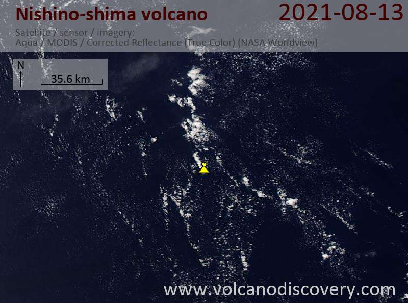 Satellite image of Nishino-shima volcano on 13 Aug 2021