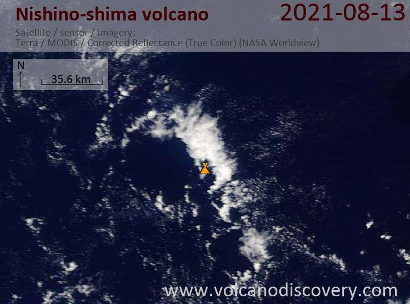 Satellite image of Nishino-shima volcano on 14 Aug 2021