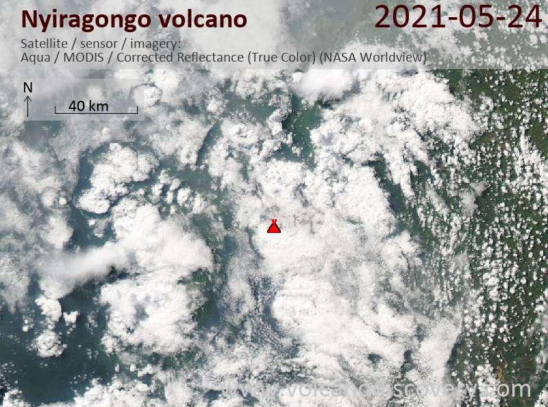 Satellite image of Nyiragongo volcano on 24 May 2021