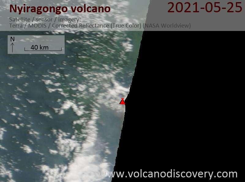 Satellite image of Nyiragongo volcano on 25 May 2021