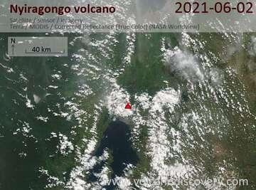 Satellite image of Nyiragongo volcano on  2 Jun 2021