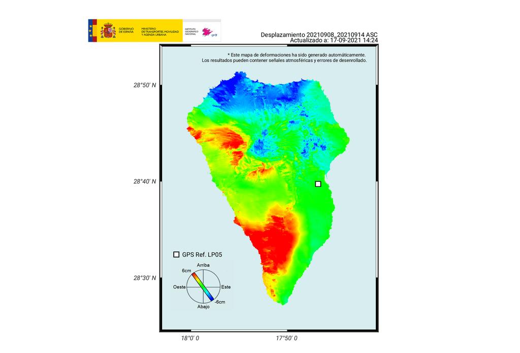 Latest map of uplifted area on La Palma (source: IGN)