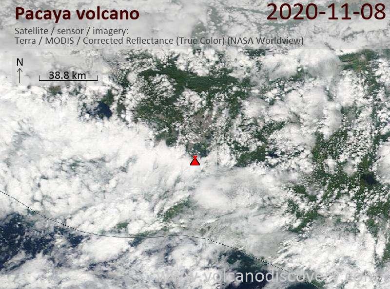 Satellite image of Pacaya volcano on  8 Nov 2020