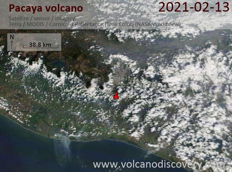 Satellite image of Pacaya volcano on 13 Feb 2021