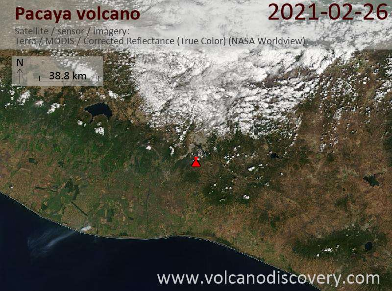 Satellite image of Pacaya volcano on 26 Feb 2021