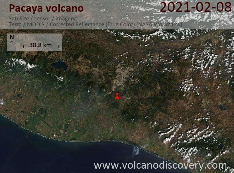 Спутниковое изображение вулкана Pacaya  8 Feb 2021