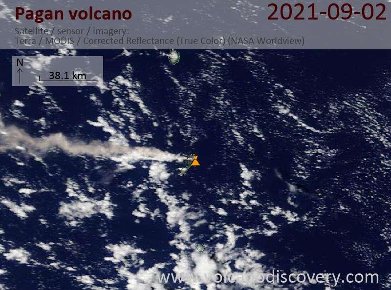 Satellite image of Pagan volcano on  2 Sep 2021