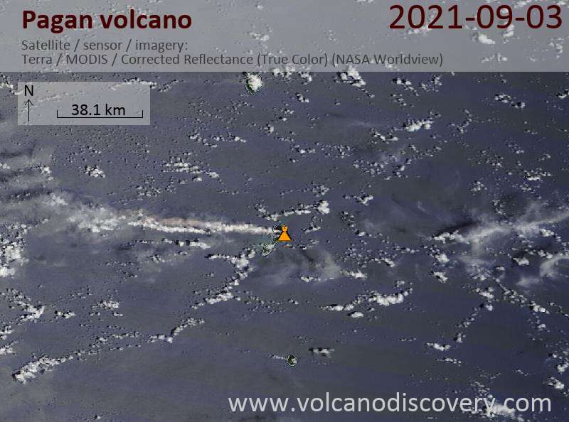 Satellite image of Pagan volcano on  5 Sep 2021