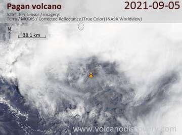 Satellite image of Pagan volcano on  6 Sep 2021