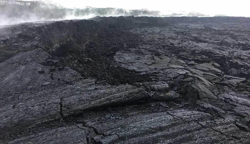 A cooled pahoehoe lava flow