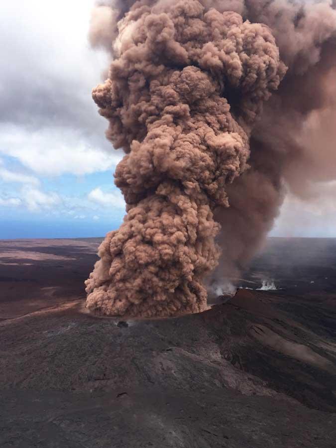 Ash plume over Halema'uma'u after an earthquake