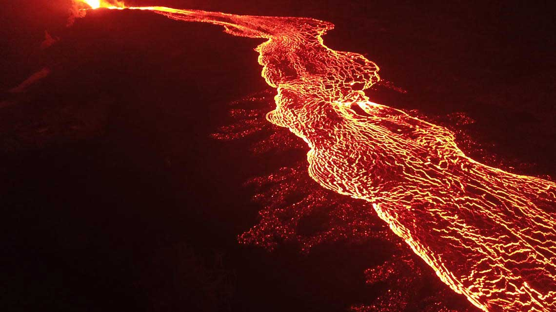River of lava running from Fissure 8