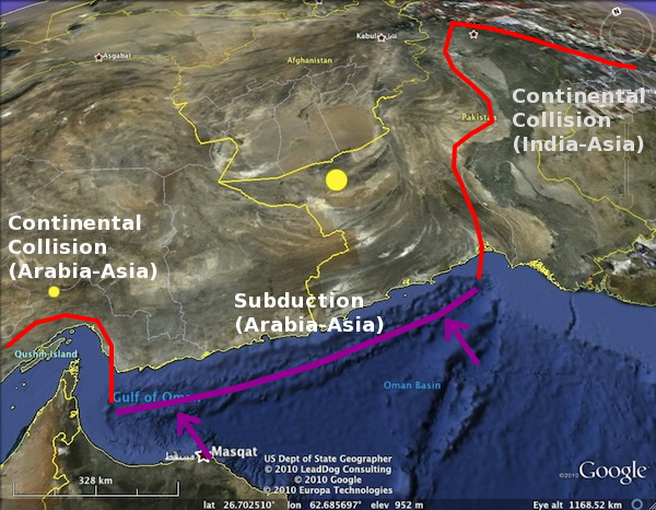 The Makran Subduction zone, sandwiched between two areas of continental collision