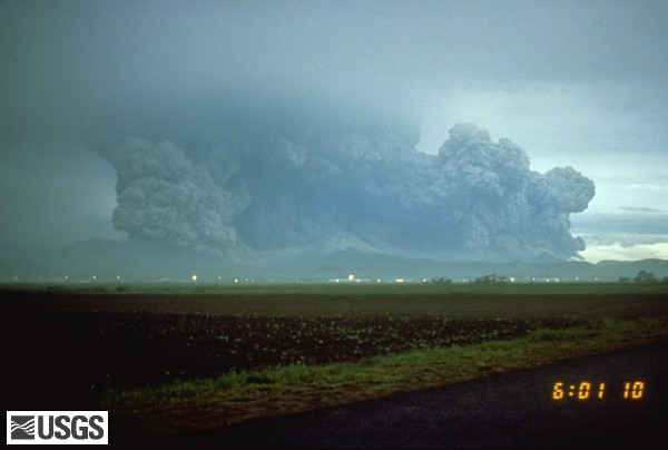 View to west from Clark Air Base of Pinatubo's lateral blast cloud of eruption of 5:55 am. U.S. Geological Survey Photograph taken on June 15, 1991, by Richard P. Hoblitt.