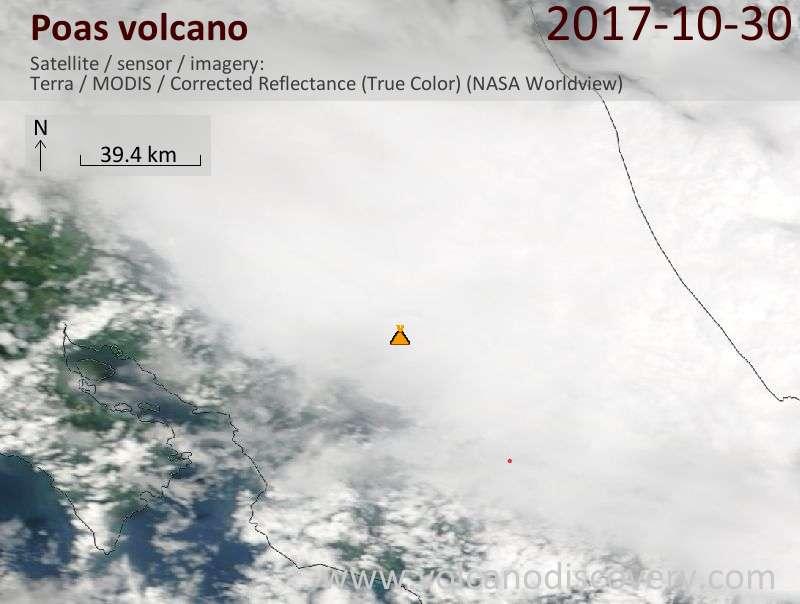 Satellite image of Poas volcano on 30 Oct 2017