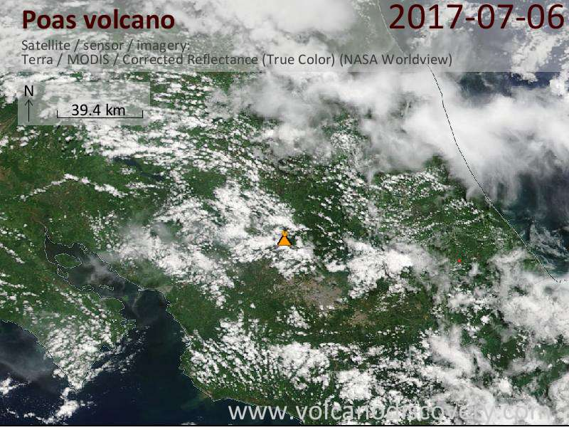 Satellite image of Poas volcano on  6 Jul 2017
