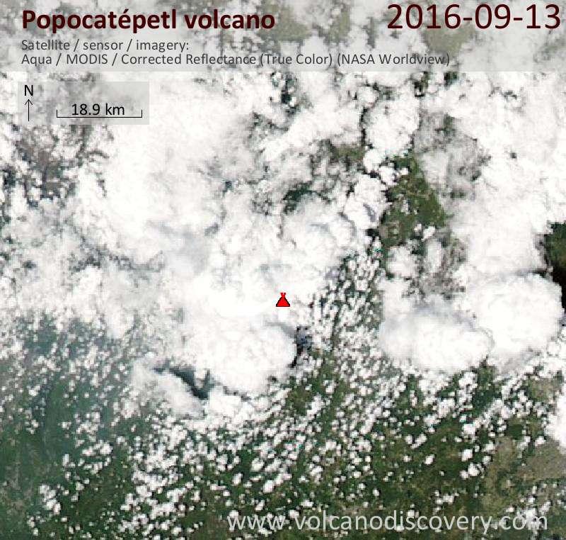 Satellite image of Popocatépetl volcano on 14 Sep 2016