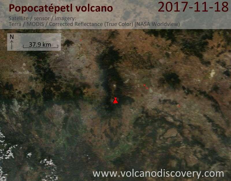 Satellite image of Popocatépetl volcano on 18 Nov 2017