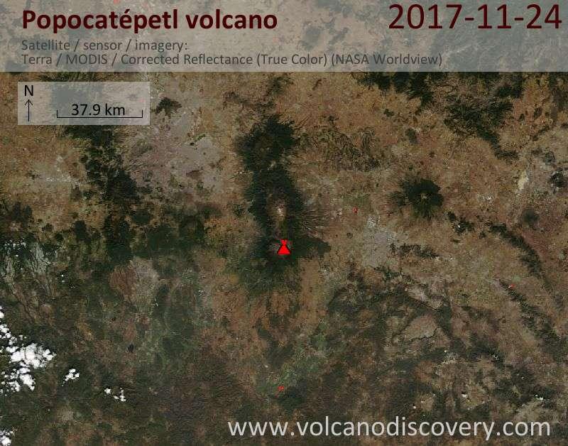Satellite image of Popocatépetl volcano on 24 Nov 2017