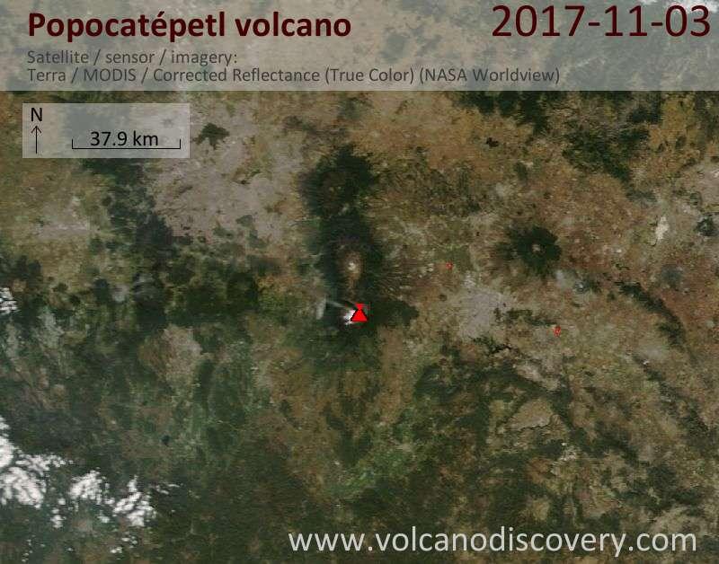 Satellite image of Popocatépetl volcano on  3 Nov 2017