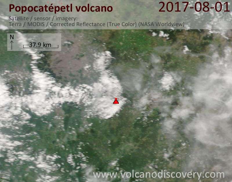 Satellite image of Popocatépetl volcano on  1 Aug 2017