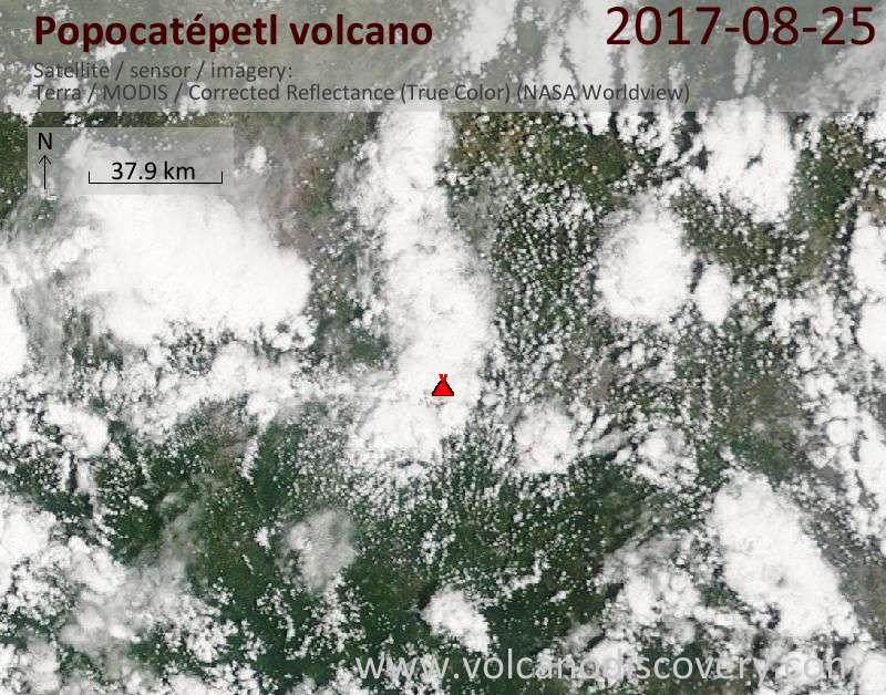 Satellite image of Popocatépetl volcano on 25 Aug 2017