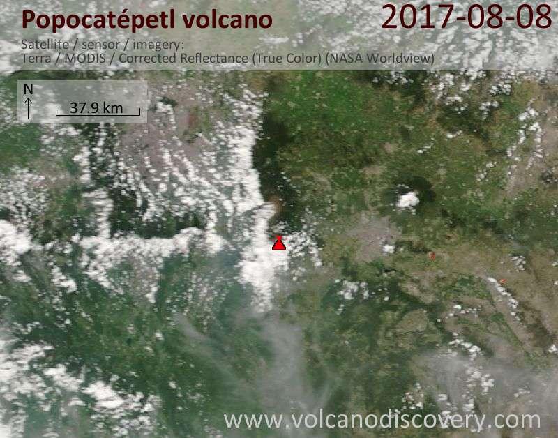Satellite image of Popocatépetl volcano on  8 Aug 2017