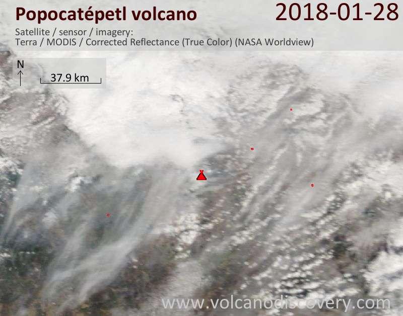 Satellite image of Popocatépetl volcano on 28 Jan 2018