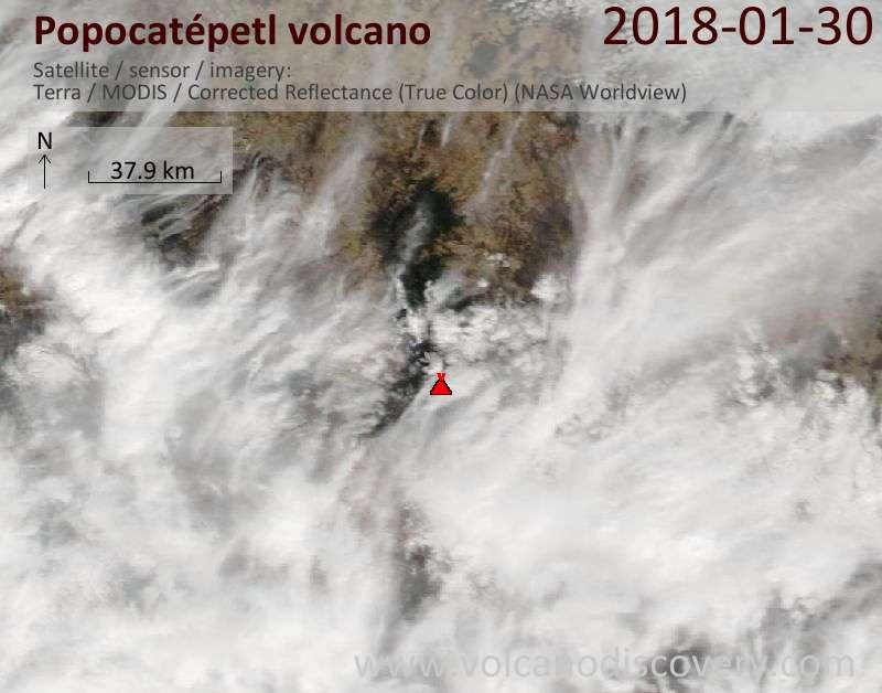 Satellite image of Popocatépetl volcano on 30 Jan 2018
