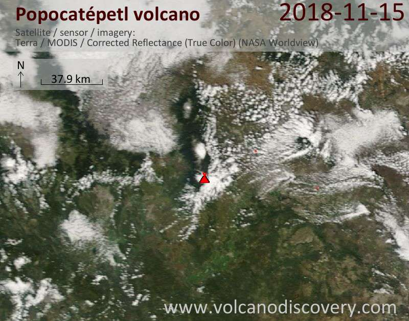 Satellite image of Popocatépetl volcano on 15 Nov 2018