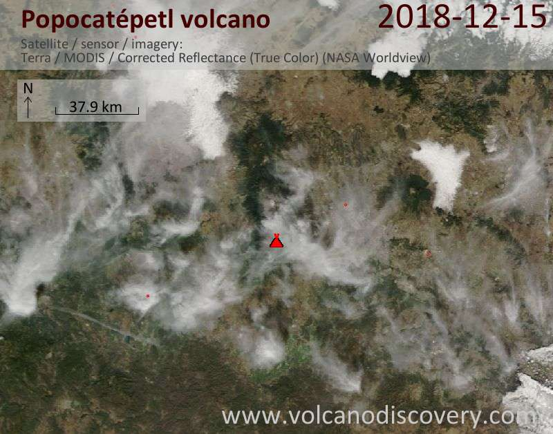 Satellite image of Popocatépetl volcano on 15 Dec 2018