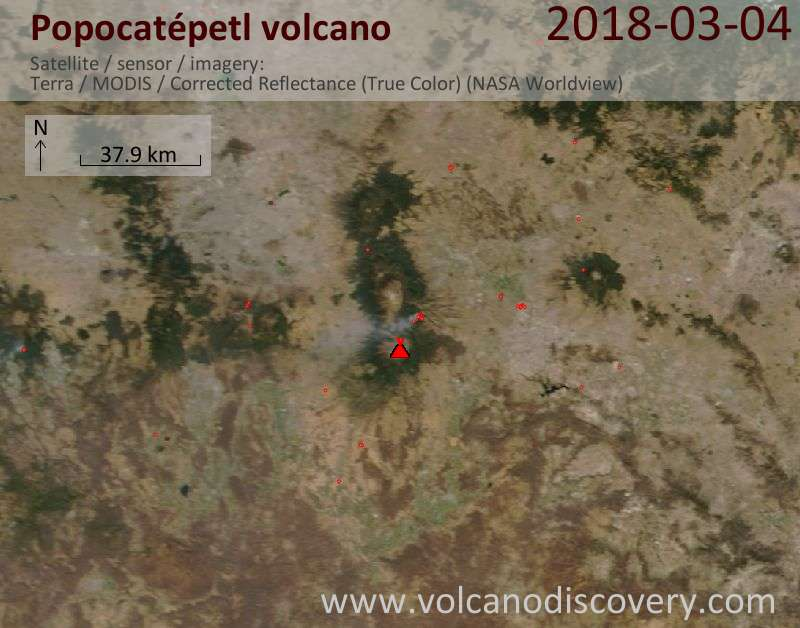 Satellite image of Popocatépetl volcano on  4 Mar 2018