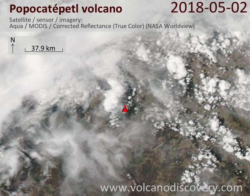 Satellite image of Popocatépetl volcano on  2 May 2018