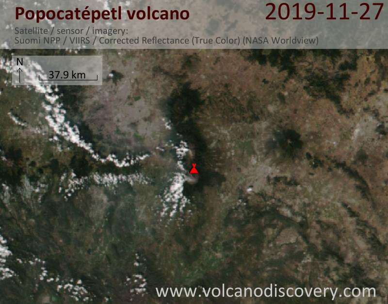 Спутниковое изображение вулкана Popocatépetl 27 Nov 2019