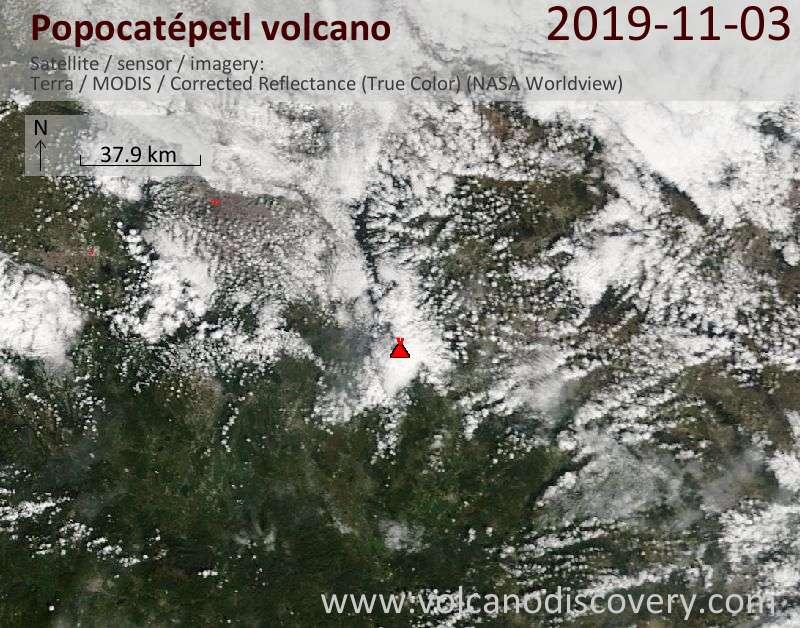 Спутниковое изображение вулкана Popocatépetl  3 Nov 2019