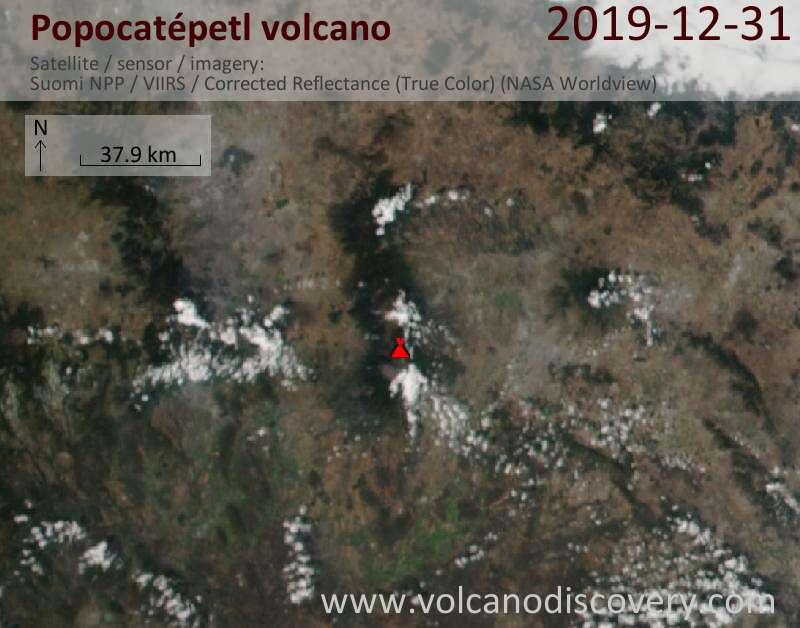 Satellitenbild des Popocatépetl Vulkans am 31 Dec 2019