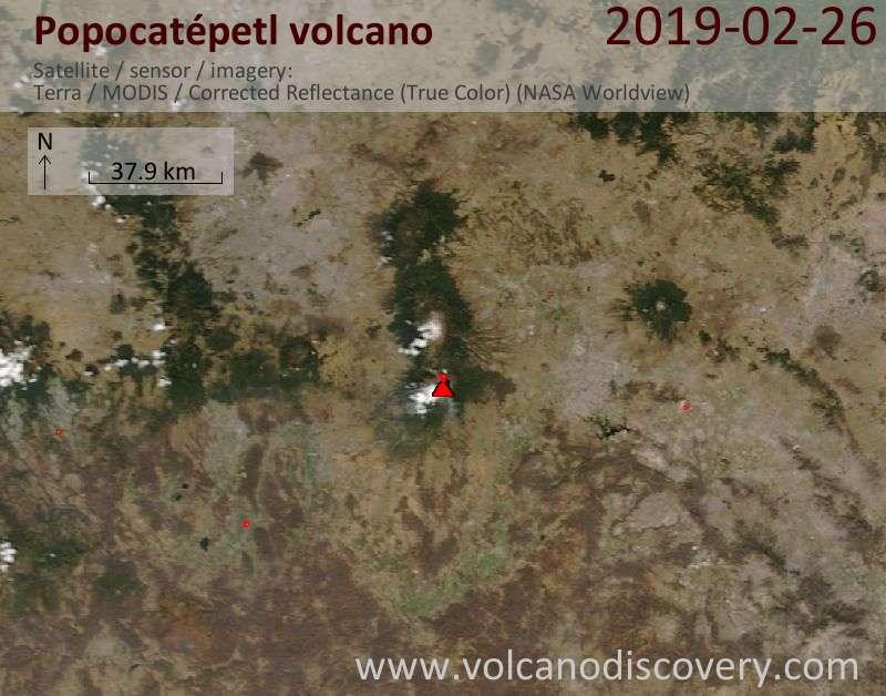 Спутниковое изображение вулкана Popocatépetl 26 Feb 2019