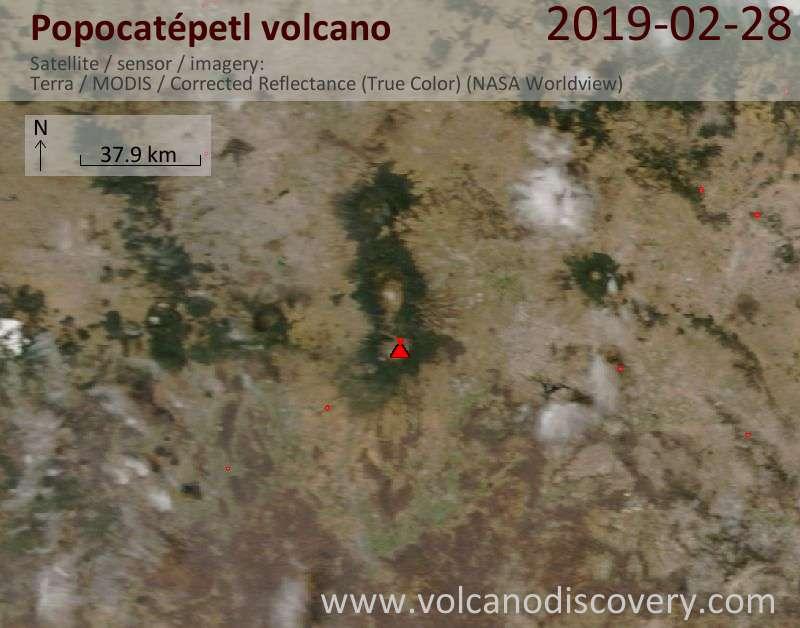 Спутниковое изображение вулкана Popocatépetl 28 Feb 2019