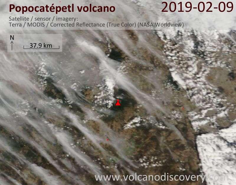 Спутниковое изображение вулкана Popocatépetl  9 Feb 2019