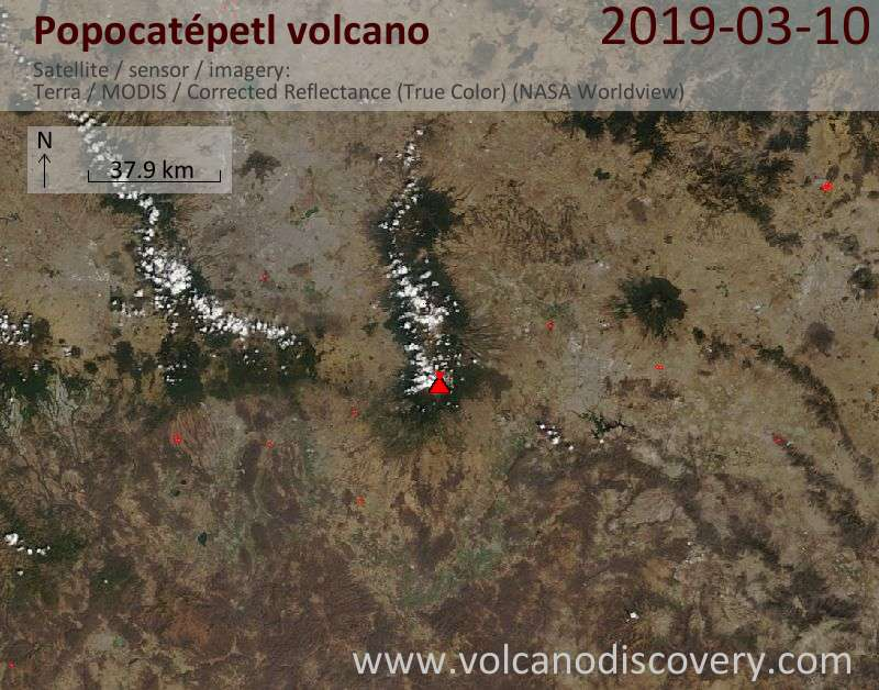 Satellite image of Popocatépetl volcano on 10 Mar 2019