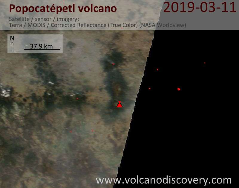 Satellite image of Popocatépetl volcano on 11 Mar 2019