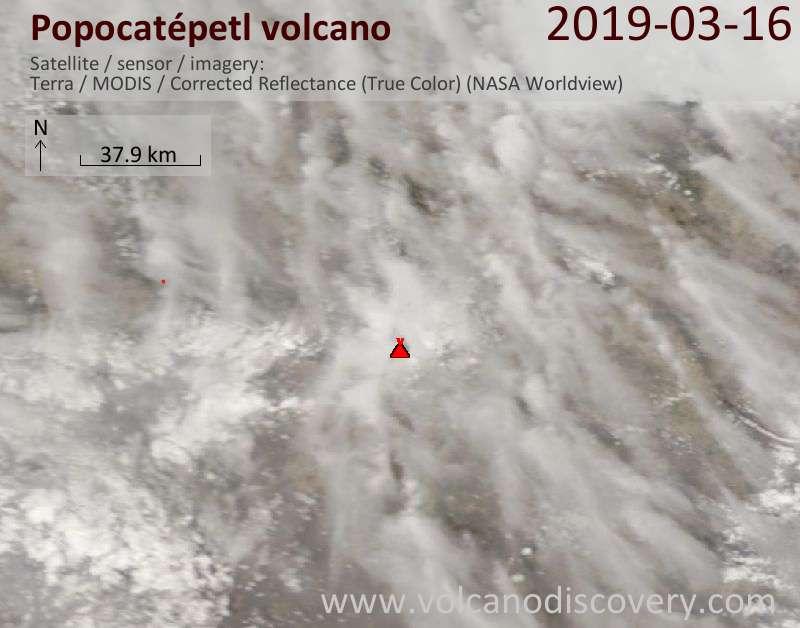 Satellite image of Popocatépetl volcano on 16 Mar 2019