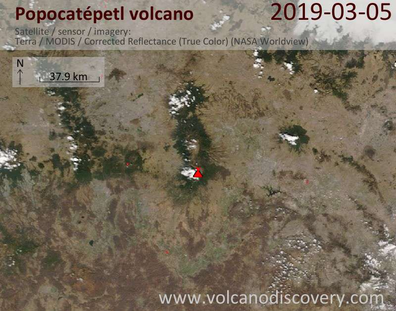 Satellite image of Popocatépetl volcano on  6 Mar 2019
