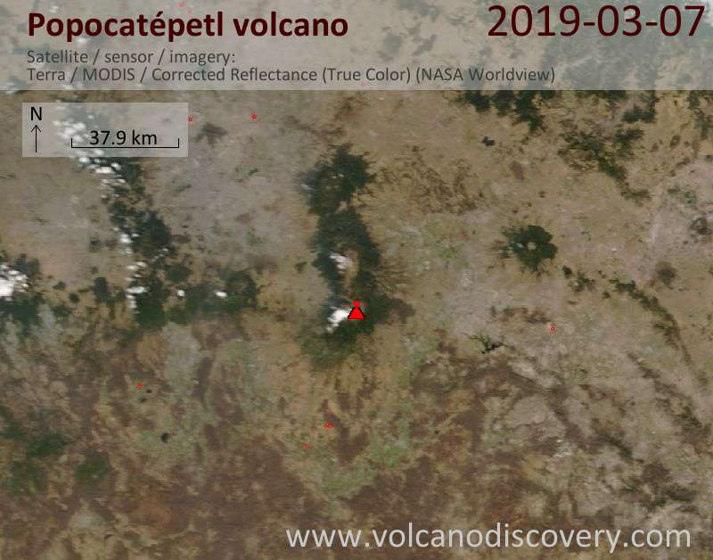 Satellite image of Popocatépetl volcano on  7 Mar 2019